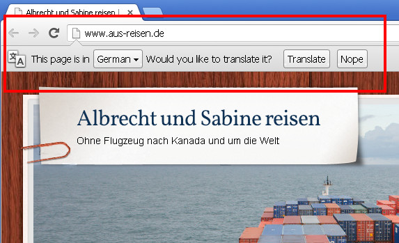 Google Chrome is asking you if it should translate the website